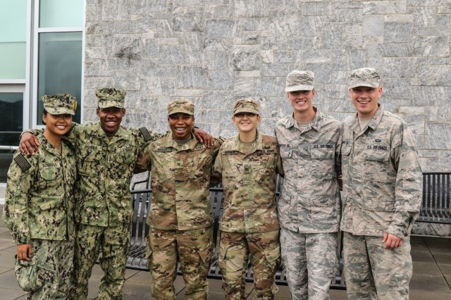 Cadets and midshipmen from the U.S. Military Academy, U.S. Air Force Academy, and U.S. Naval Academy pose for a photo at the Jefferson Library at West Point July 19, 2019. For the first time in history, all three service academies came together for a student leadership exchange at the National Defense University-Malaysia from July 20-28. (U.S. Army photo by Sgt. 1st Class Josephine Pride)
