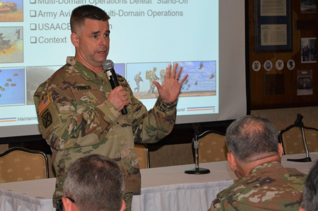 Maj. Gen. David J. Francis, USAACE and Fort Rucker commanding general, welcomes participants to Aviation Industry Days and provides a branch update at The Landing July 24.