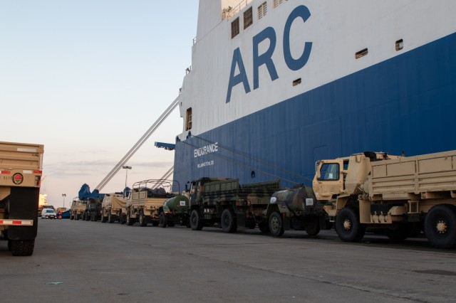 U.S. Army vehicles are staged outside the ARC Endurance, a vehicle carrier vessel, at the Port of Constanta, Romania, August 2nd, 2019, before being loaded alongside more than 1,200 pieces of equipment used in a variety of summer exercises in Europe. The Endurance will then make an 11-day journey to deliver the equipment back to their respective home stations. (U.S. Army Photo by Pfc. Andrew Wash, 5th Mobile Public Affairs Detachment)
