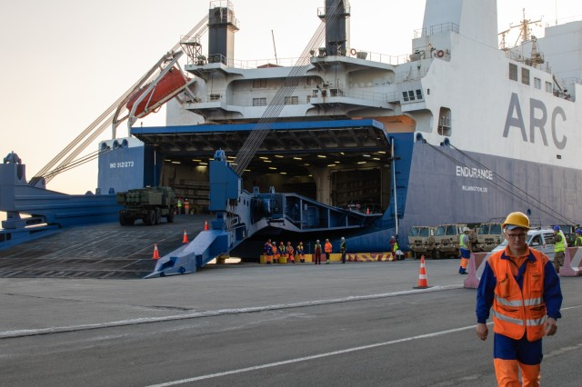 U.S. Soldiers and Romanian contractors load the ARC Endurance, a vehicle carrier vessel, with over 1,200 pieces of Army equipment that was used in a variety of summer exercises in Europe at the Port of Constanta, Romania, August 2nd, 2019. After the 48-hour loading process, the Endurance will make an 11-day journey back to the United States to deliver the equipment. (U.S. Army Photo by Pfc. Andrew Wash, 5th Mobile Public Affairs Detachment)