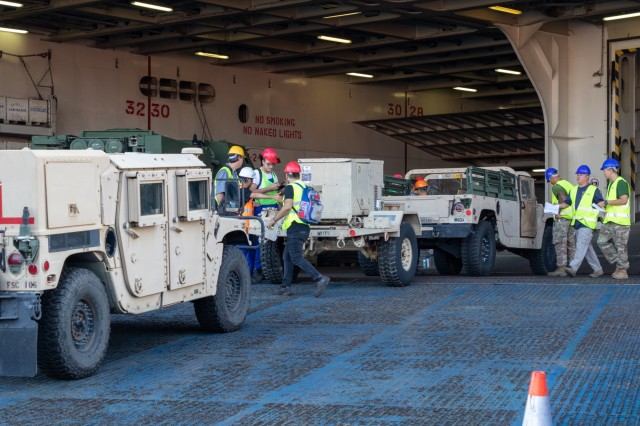 U.S. Army Soldiers tag Humvees as they are loaded onto the ARC Endurance at the Port of Constanta, Romania, August 2nd, 2019. The Endurance is a vehicle transport vessel that will make an 11-day journey from Romania to Charleston, South Carolina, to unload equipment used in a variety of summer exercises in Europe.  (U.S. Army Photo by Pfc. Andrew Wash, 5th Mobile Public Affairs Detachment)