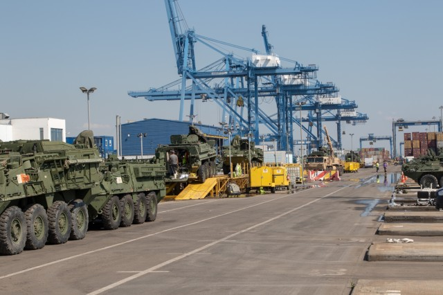 U.S. Army Soldiers line up Stykers for cleaning and inspection to prepare for redeployment back to the United States at the Port of Constanta, Romania, July 26, 2019. Making sure the vehicles pass customs inspections ensures that no foreign elements or contaminants find their way  to the United States. (U.S. Army Photo by Pfc. Andrew Wash, 5th Mobile Public Affairs Detachment)