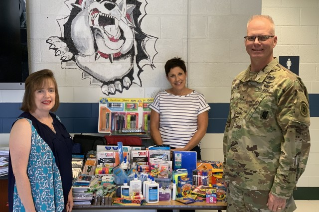 U.S. Army Recruiting Command personnel donated more than $600 worth of school supplies for the teachers and students at the command's Fort Knox partner school, Scott Intermediate. Chief Warrant Officer 5 Troy DeGolyer delivered the school supplies Aug. 1 on behalf of the USAREC leadership and staff.