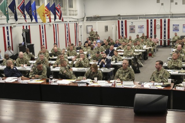 Lt. Gen. Jeffrey S. Buchanan, U.S. Army North commanding general, hosts personnel from Federal, State, U.S. Territories and military agencies at the 2019 ARNORTH Hurricane Rehearsal of Concept Drill held at Joint Base San Antonio - Fort Sam Houston, June 12. The ROC Drill helped synchronize active duty military support efforts with federal, state, territorial and local partners to ensure seamless support in a hurricane response event.