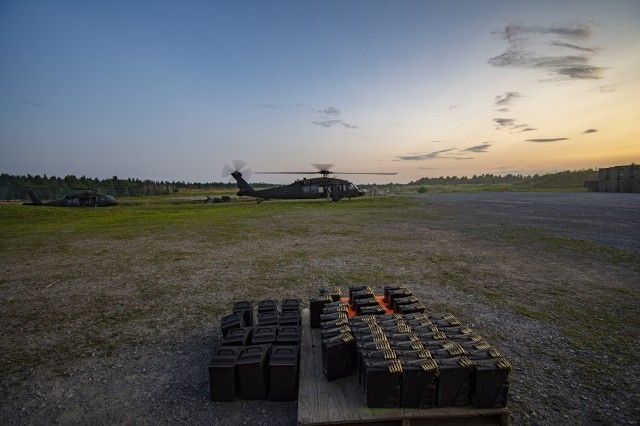 A UH-60 Black Hawk helicopter takes part in the annual aerial gunnery of the 3rd Battalion, 142nd Aviation Regiment, New York National Guard headquartered at Ronkonkoma, N.Y., at Fort Drum, N.Y., July 24, 2019. The Soldiers carried out the training during their two weeks of annual training, which included day and night portions.