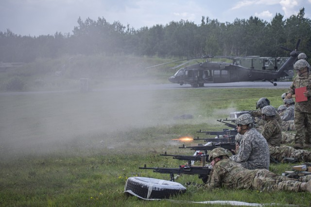 Soldiers assigned to Alpha and Bravo Companies, 3rd Battalion, 142nd Aviation Regiment, New York National Guard headquartered in Ronkonkoma, N.Y., conduct the ground table portion of their annual aerial gunnery with M-240B machine guns at Fort Drum, N.Y., July 24, 2019. The Soldiers carried out the training during their two weeks of annual training, which included day and night portions.