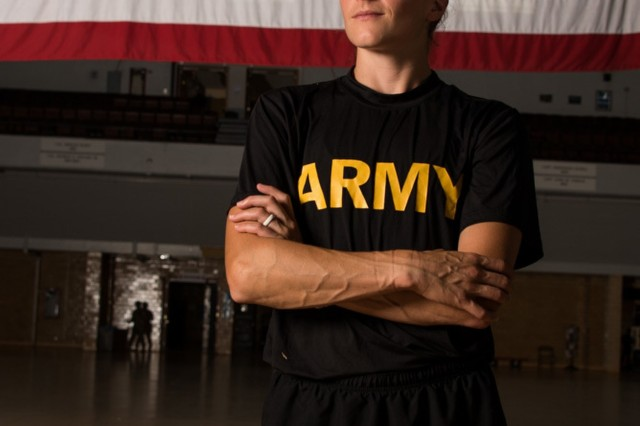 Army Capt. Meghan Landymore, a Joint Force Headquarters Medical Detachment physician assistant, poses for a photo July 9, 2019, at the Fifth Regiment Armory, Baltimore. Landymore is an accomplished ultra-marathon runner and member of the All Guard Marathon Team.