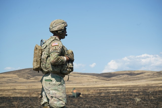 U.S. Army 1st Lt. Brian Matiasmuniz, assigned to Eagle Troop, 2d Squadron, 2d Cavalry Regiment, awaits the start of the second iteration of the platoon live-fire exercise during Agile Spirit 19 at the Vaziani Training Area near Tbilisi, Georgia, Aug. 1, 2019. AgS19 is a cooperatively led exercise between the Georgian Defense Forces and U.S. Army Europe, designed to support theater security cooperation and training efforts among the 14 allies and partnering nations participating. The exercise is designed to improve joint and multinational readiness, interoperability, mobility and posture of combat credible forces across the European theater specifically in Georgia. (U.S. Army photo by Sgt. LaShic Patterson)