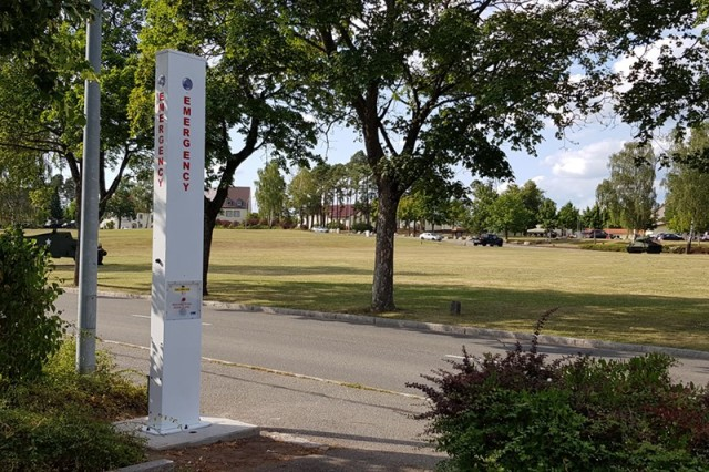 The first emergency call box was installed next to the Tower Barracks Theater Aug. 1 at U.S. Army Garrison Bavaria in Germany. Fifty call boxes will be installed from Netzaberg Hill to Tower Barracks and across the Rose Barracks and Hohenfels communities over the next few months as an additional layer of security for U.S. Army Garrison Bavaria community members.