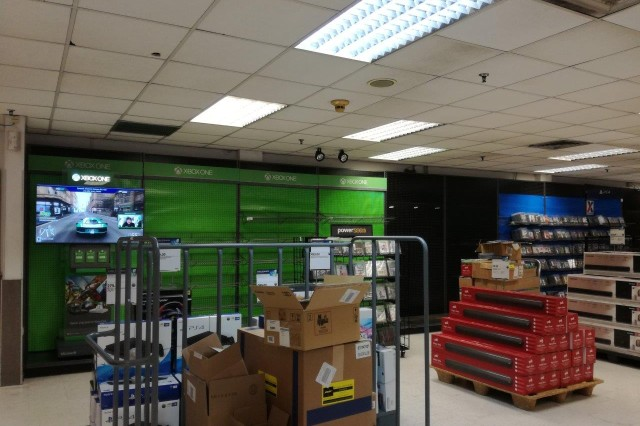 "Electronics in the Vicenza Exchange ""Powerzone"" are rearranged to allow for the temporary move of greeting cards and books in preparation for a major renovation project slated to begin next month."