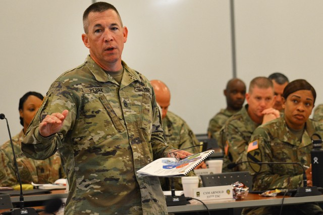 CSM Michael J. Perry, III, CASCOM, briefs at the 2019 HQDA G-4 Sustainment Senior Enlisted Leader Development Symposium.