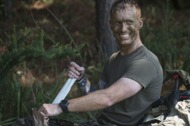 U.S. Army Staff Sgt. Philip Matherly, Eisenhower Army Medical Center radiology noncommissioned officer at Fort Gordon, Ga., takes a break between objectives during the Regional Health Command Atlantic Best Medic Competition at Joint Base Langley-Eustis, Va., July 30, 2019. The Soldiers were only able to rest in short bursts between objectives as the competition called for 48 hours of continuous operations.