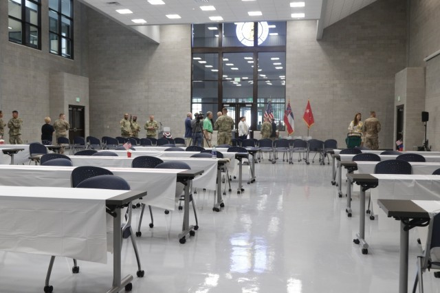 The interior of the drill hall at the Columbia Army National Guard Readiness Center is large enough to also host community events. The center, home to Company A, 150th Brigade Engineer Battalion, was reopened during a ceremony July 13 after being destroyed by a tornado on Dec. 23, 2014.
