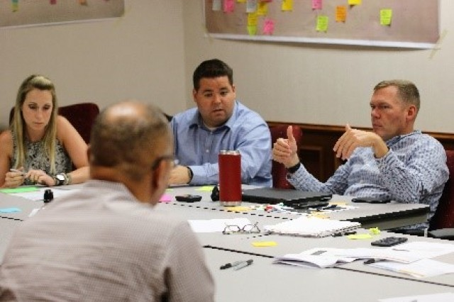 Lt. Col. Ron Niedert (right), deputy chief of staff for the Army Futures Command's Fort Sill, Oklahoma-based Air Missile Defense Cross-Functional Team, participates in a planning workshop in Austin, Texas, July 25, 2019. The workshop was held by Army Futures Command planners to gather input from subordinate units in the development of the command's first multi-year Enterprise Campaign Plan.