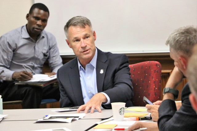 "Brig. Gen. James ""Jay"" Gallivan, Army Futures Command chief of staff, leads a discussion during a planning workshop in Austin, Texas, July 25, 2019. The workshop was held by Army Futures Command planners to gather input from subordinate units in the development of the command's first multi-year Enterprise Campaign Plan."