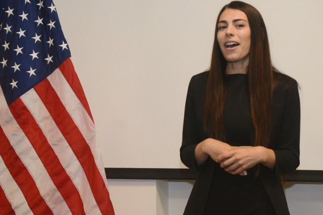Jasmyn Troncoso addresses the cadets and those who attended her ceremony as she becomes the newest deputy district attorney for Deschutes County, Aug. 5, 2019, at the Oregon Youth ChalleNGe Program (OYCP) campus, Bend, Oregon. Troncoso graduated from OYCP in 2006 and credits the program to help change her life and desire to become a lawyer.