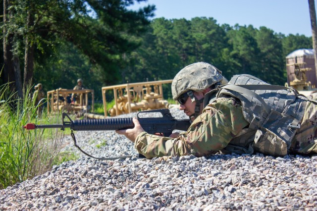 Pvt. Jonathan Taylor, of 952nd Quartermaster Company based in Livonia, Mich., in the prone position, performing perimeter defense as part of the Quartermaster Liquid Logistics Exercise Expanded 2019 at Fort Pickett, Virginia on July 25, 2019. QLLEX- E is a year-long liquid logistics training exercise that tests each participating unit's combat supply acumen and culminates in a rigorous evaluation of all units' theater sustainment capabilities.