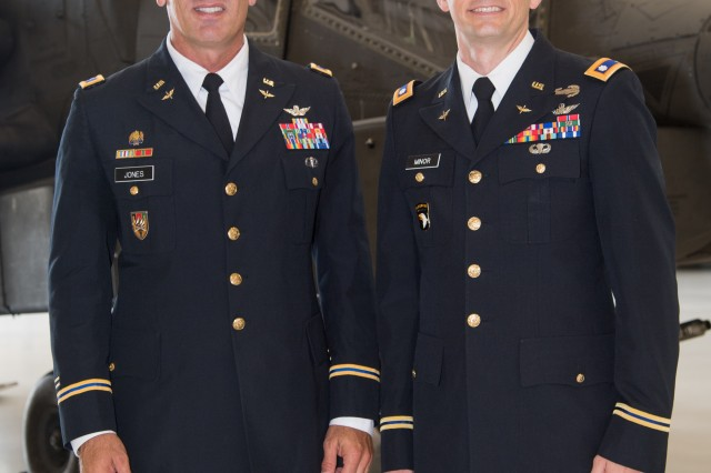 Lt. Col. Joe S. Minor (right), seen here with Col. John W. Jones, assumed command of the U.S. Army Redstone Test Center's Aviation Flight Test Directorate in a ceremony held Aug. 2.