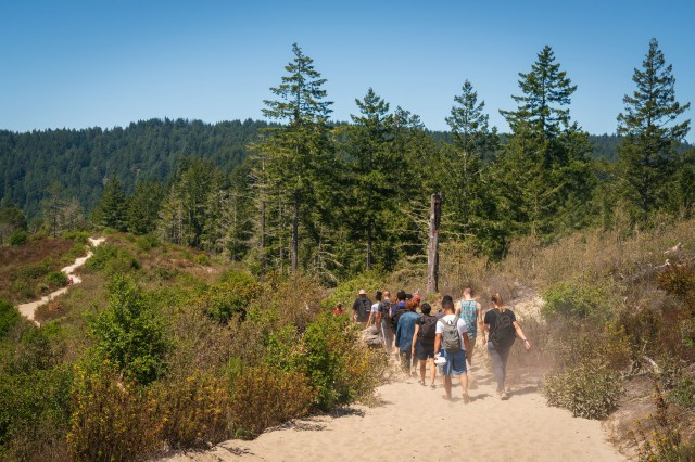 A group of 28 service members and civilians from the Presidio of Monterey hike across sandy terrain during a non-denominational 'Spiritual Fitness Hike' at Henry Cowell Redwoods State Park in Fulton, Calif., July 27, 2019.