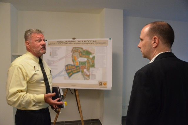 From left, Baumholder Senior Housing Management Specialist Jim Gillis shows the Principal Deputy Assistant Secretary of the Army for Installations, Energy and Environment, Jordan Gillis, a planned construction and design project to reshape Wetzel Housing.