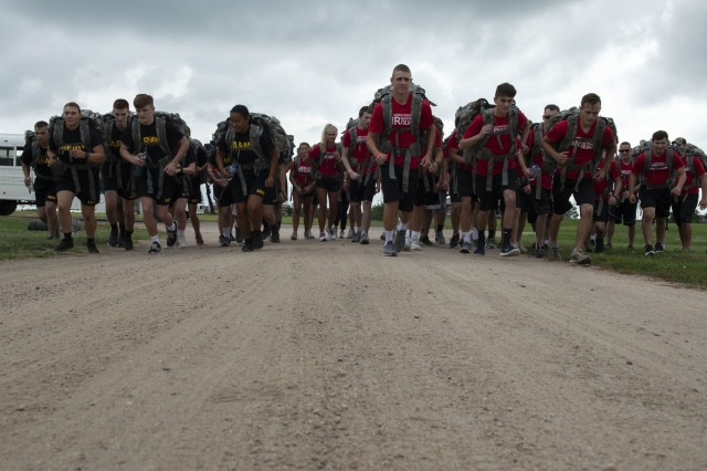 Nebraska Air National Guard's student flight and two teams from the Nebraska Army National Guard's Recruit Sustainment Program begin their five-kilometer ruck march as part of the Student Flight Recruit Sustainment Program Challenge Aug. 3, 2019, at the Army National Guard's Greenlief Training Site near Hastings, Nebraska. The trainees carried ruck sacks on their backs, weighing 35 pounds. (U.S. Air Force photo taken by Senior Airman Jamie Titus)