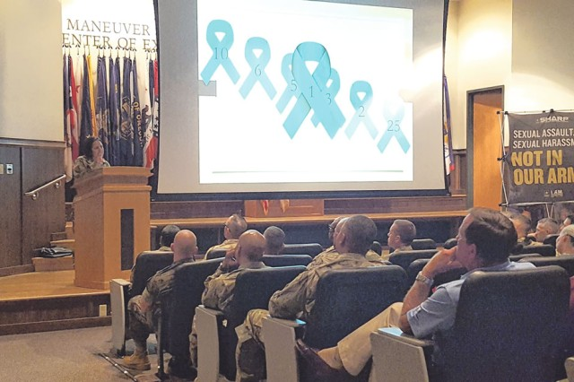 Maj. Hali Picciano, guest speaker and sexual assault survivor, shares her story with about 300 leaders from across the installation during Fort Leonard Wood's 2019 SHARP Summit held July 31 in Lincoln Hall Auditorium. During her presentation, she explained the numbers on the screen, with No. 1 representing her as a survivor and 25 as the number of years her abuser is serving in prison.