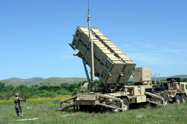 Soldiers of Bravo Battery, 3rd Battalion, 2nd Air Defense Artillery Regiment set up a Patriot missile launcher during field training at Fort Sill, Okla., June 18, 2019. The 3/2 ADA has undergone the recent Patriot modernization refit, but the launcher here is configured with PAC-2 missile trainers.
