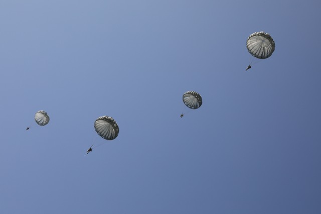 Soldiers in the 3rd Battalion, 126th Aviation Regiment support Leapfest International Airborne Competition on August 3, 2019, at the University of Rhode Island, in South Kingstown Rhode Island. Leapfest is a competition held in Rhode Island between international and National Guard airborne service members. Soldiers of 3rd Battalion, 126th Aviation have been providing CH-47 support for the competition.