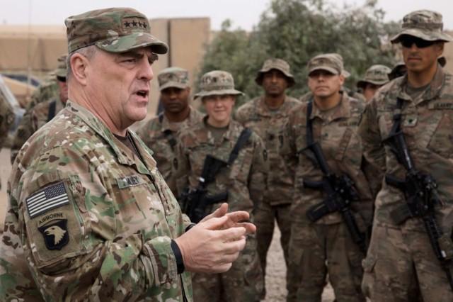 Gen. Mark A. Milley speaks to soldiers at Qayyarah Airfield West, Iraq, Dec. 22, 2017.