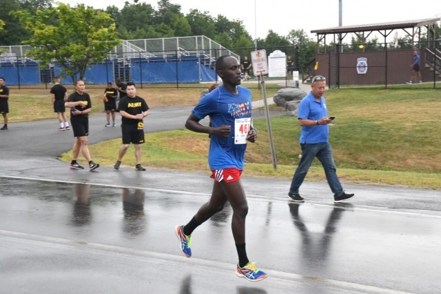 Soldiers across the 10th Mountain Division (LI) and Fort Drum ran the final 10K qualifier race Aug. 7 in hopes of getting on this year's Army Ten-Miler Team roster. First Lt. Japheth Ngojoy, with C Company, 10th Brigade Support Battalion, 1st Brigade Combat Team, secured his spot on the men's team, placing first among all runners with a 34:17 time. He previously ran a 32:41 at the first qualifier in May. (Photo by Mike Strasser, Fort Drum Garrison Public Affairs)