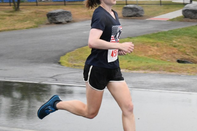 Soldiers across the 10th Mountain Division (LI) and Fort Drum ran the final 10K qualifier race Aug. 7 in hopes of getting on this year's Army Ten-Miler Team roster. Capt. Kelly MacDonald placed first among female runners, with a time of 41:30. (Photo by Mike Strasser, Fort Drum Garrison Public Affairs)