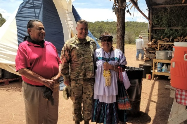 Col. Chris Ward with Mescalero Apache Tribe Medicine Man Freddie Kaydahzinne and Medicine Woman Karen Geronimo.