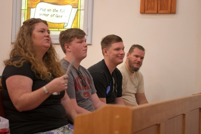 The Silva family attends a church service at the Camp Carroll Community Chapel, Aug. 11, 2019 at Camp Carroll, South Korea. Through the Make-A-Wish Foundation, Jacob Silva, pictured second from right, visited the base and attended a church service where his father worked as a chaplain assistant.