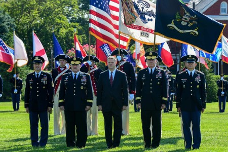 A change of responsibility ceremony is held in honor of outgoing Chief of Staff of the U.S. Army Gen. Mark A. Milley and Sgt. Maj. of the U.S. Army Daniel A. Dailey, hosted by Acting Secretary of the Army Ryan D. McCarthy at Joint Base Myer- Henderso...