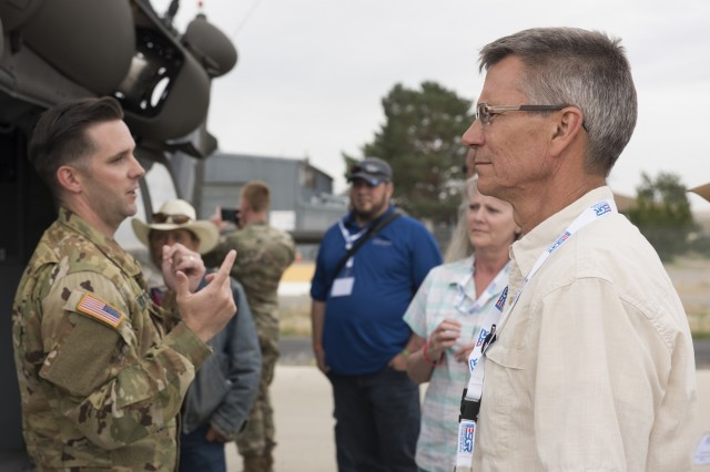More than 100 National Guard and Reserve employers and supervisors traveled to Gowen Field from across the state today to participate in the Idaho ESGR's annual Boss Lift. The two-day event gives participants a first-hand look into what their Soldiers, Marines and Airmen do away from work approximately 36 days of the year for military training.