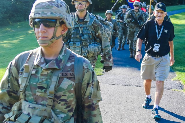 Retired Lt. Col. Wallace Ward, USMA Class of 1958, marches back with the Class of 2023. Ward, 87, was the oldest grad to participate in the 2019 March Back. Members of the U.S. Military Academy Class of 2023 completed their final challenge of Cadet Basic Training by conducting a 12-mile road march from Camp Buckner, Aug. 12, 2019. They were joined by the cadet cadre, USMA leadership, staff, faculty and members of the Long Gray Line.