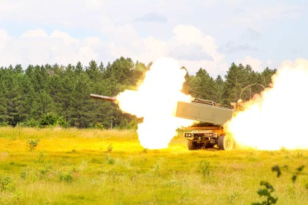 Soldiers from 182nd Field Artillery fires their High Mobility Artillery Rocket system during Northern Strike 2019 at Camp Grayling, Michigan, July 23, 2019. Northern Strike 19 is a National Guard Bureau-sponsored exercise uniting service members from...