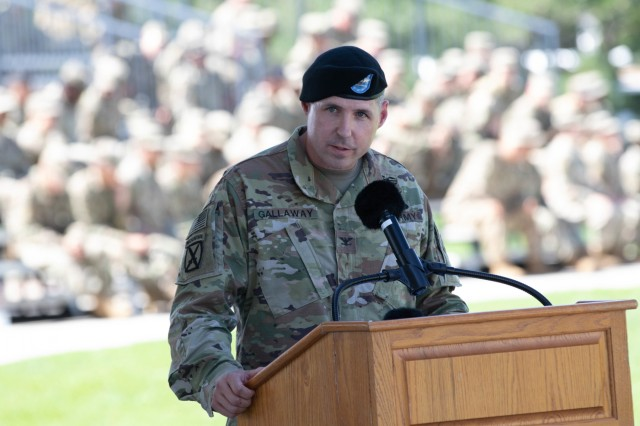 Col. Scott Gallaway, the outgoing commander, 4th Combat Aviation Brigade, 4th Infantry Division, speaks during a change-of-command ceremony on Founders Field, Fort Carson Colorado, July 26, 2019. The ceremony is a military tradition that represents a formal transfer of authority and responsibility from one commanding or flag officer to another. (U.S. Army photo by Sgt. Daphney Black)