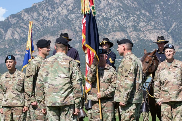 Col. Scott Gallaway relinquished command of 4th Combat Aviation Brigade, 4th Infantry Division, to Col. Scott Myers in a change-of-ceremony held on Founders Field, Fort Carson, Colorado, July 26, 2019.The change of command ceremony is a military tradition that represents a formal transfer of authority and responsibility from one commanding or flag officer to another. (U.S. Army photo by Sgt. Daphney Black)
