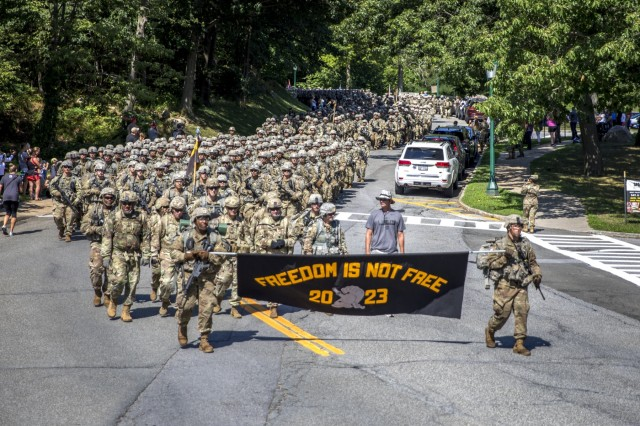 Members of the U.S. Military Academy Class of 2023, USMA leadership, staff, faculty and graduates completed a 12-mile road march from Camp Buckner, Aug. 12, 2019.  The March Back is the new cadets' final challenge of Cadet Basic Training. A ceremonial celebration will occur on Aug. 17 during the Acceptance Day parade, where they will officially join the Corps of Cadets.