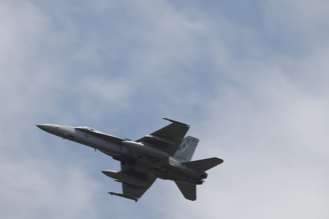 One of two F/A 18 Hornets flies over providing close-air support during the Redleg CTE, Aug. 8, 2019, at Fort Sill, Okla.
