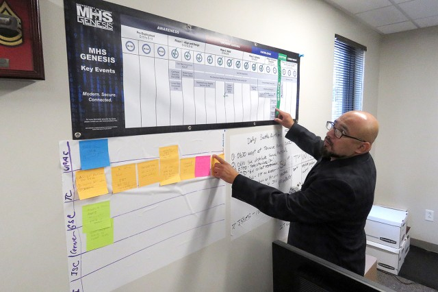 Marlon Zambrano, California Medical Detachment's workflow analyst and health systems specialist, reviewing MHS GENESIS Go-live project management notes and flow charts at the CAL MED health clinic in Monterey, Calif., on August 8.