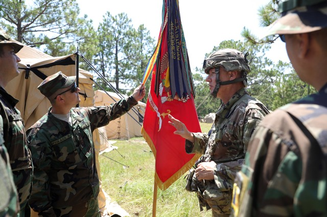 North Carolina National Guard Capt. David McDonald, a fire support officer assigned to 5th Battalion, 113th Field Artillery Regiment (right) explains the significance of their guide on to Moldovan National army field artillery officers during a visit to the 139th RTI at Fort Bragg on Aug. 12, 2019. The North Carolina National Guard has partnered with Moldova for over 20 years as part of the State Partnership Program, which is created to foster military and civil sector bonds between former Soviet Union countries while conducting military-to-military and civilian-to-military activities to maintain international defensive security and to increase peace and stability across Europe.