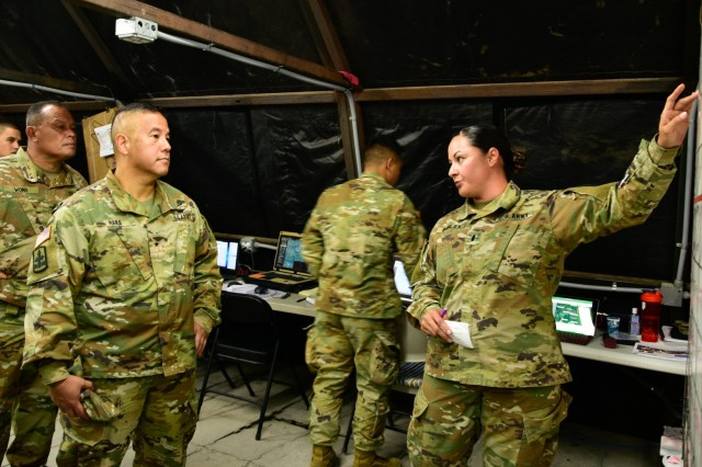 Brig. Gen. Kenneth Hara, Hawaii Army National Guard Deputy Adjutant General visits Hawaii Army National Guard Soldiers with 1st Battalion, 487th Field Artillery Regiment as they conduct Counter Rocket Artillery Mortar operations during deployment training, Fort Sill, Oklahoma, Jun. 9, 2019. The 487th FAR was selected as the first non-Air Defense Artillery unit to be trained on C-RAM operations outside of their primary Military Occupational Specialty of Field Artillery.