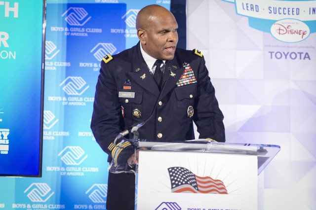 Lt. Gen. Leslie Smith, the Army's inspector general, addresses a crowd during the Military Youth of the Year banquet Aug. 15, 2019, at the National Press Club in Washington, D.C. Smith credits military youth clubs for helping him on the road to success.