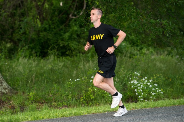 U.S. Army Capt. Zachary Schroeder, Headquarters and Headquarters Company commander, Army Public Health Center, gets in a distance run May 23, 2019, as part of his training for the October 2019 Army Ten-miler. Army Public Health Center experts recommend cross training, strength training and varying run distances to avoid overuse musculoskeletal injuries.