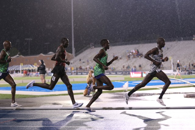 Sgt. Leonard Korir, far right, running during the in the men's 10,000-meter race at the Track and Field Outdoor Championships. He won the bronze medal.