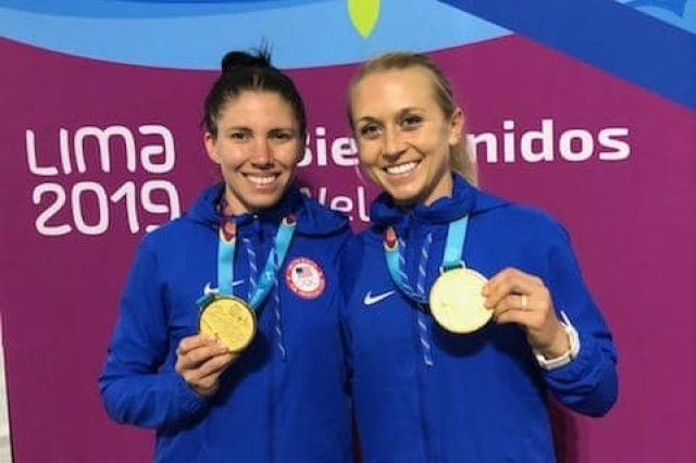 At the 2019 Pan American Games in Lima, Peru, WCAP Soldier-athlete Spc. Samantha Achterberg, right, won gold in the women's modern pentathlon relay event, and silver in the individual event qualifying her for the 2020 Olympic Games. Courtesy photo