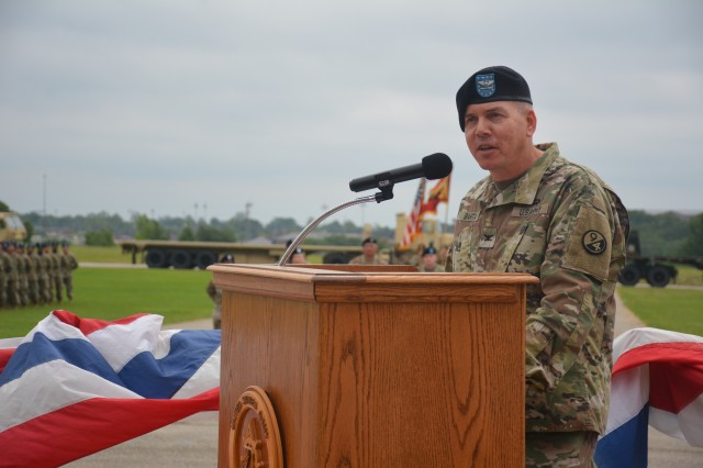 Col. Keith Barta, commander of the 2nd Brigade, 94th Training Division-Force Sustainment, speaks at the 58th Transportation Battalion's re-patching ceremony held at Fort Leonard Wood, Missouri, on June 21, 2019. Once part of the 3rd Chemical Brigade, the 58th TB is an Army Active Duty unit stationed at Fort Leonard Wood. The 58th TB now falls under the 2nd Brigade, 94th TD, under the 80th Training Command (TASS).