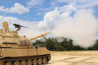 An M109A6 Howitzer fires a live round into an impact zone in the training area on Fort Stewart, Aug. 1